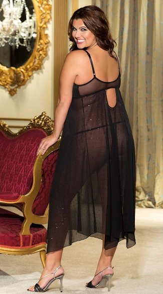 Plus Size Long Sparkle Chiffon Gown