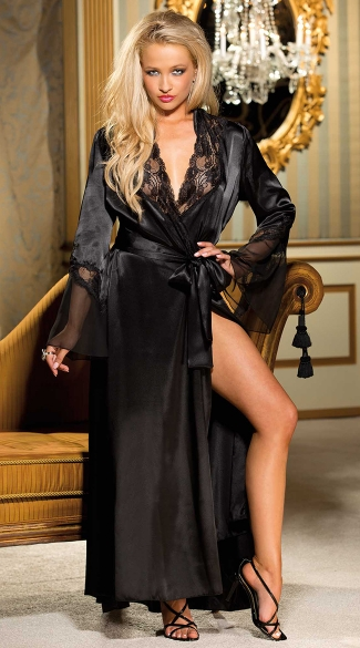 Long Satin And Chiffon Robe Satin And Chiffon Robe Long