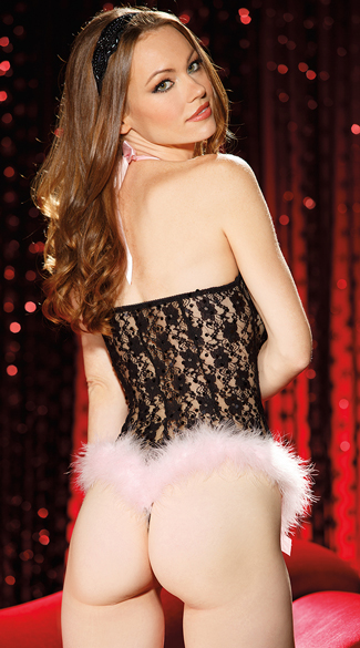 Sequin Lace Teddy with Marabou Trim