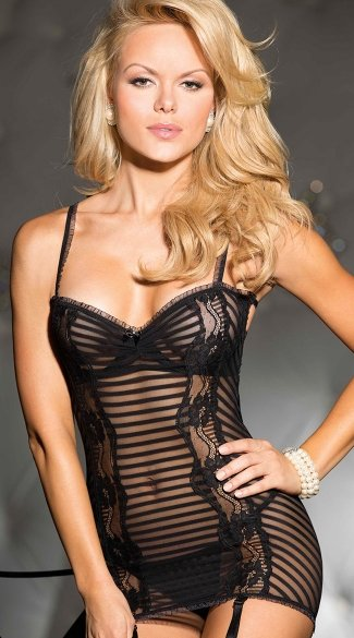 Stripe Stretch Mesh Chemise With Garters, Gartered Chemise, Lace Floral Chemise