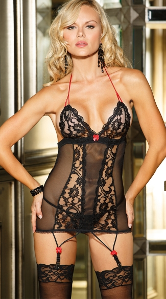 Lace and Mesh Garter Chemise, Chemise with Garters