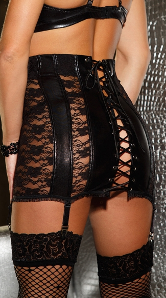 Faux Leather and Lace Waist Cincher