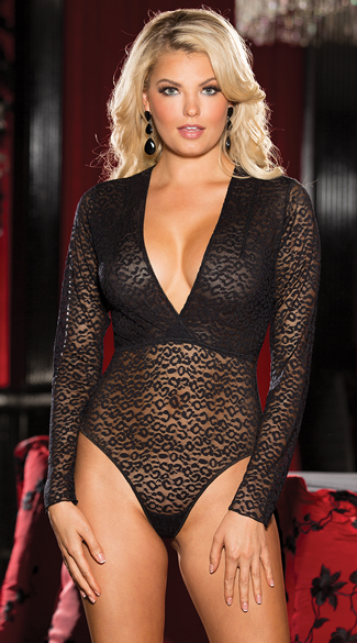 Leopard Mesh Bodysuit Long Sleeve Body Suit Sheer Bodysuit