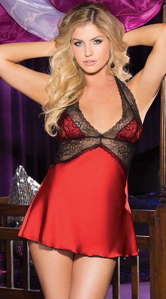 Satin and Lace Halter Babydoll