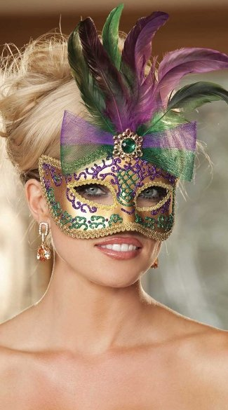 Gold Glitter Mask with Colorful Feathers