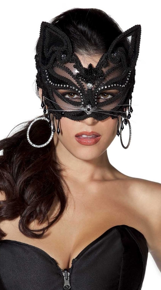 Beaded Cat Mask with Rhinestones