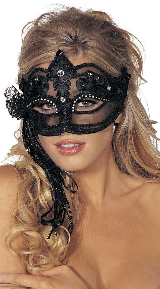 Sheer Mesh Lacy Mask with Rhinestones and Streamers