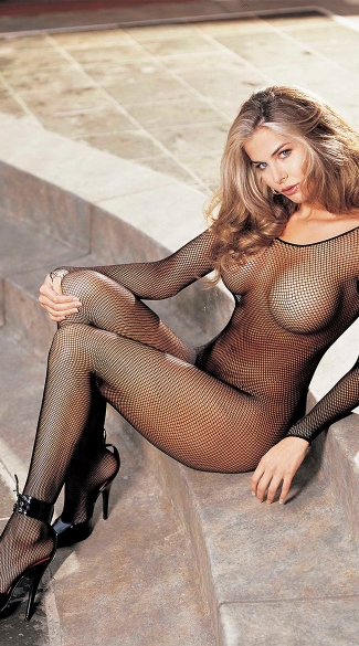 Long Sleeve V Neck Fishnet Bodystocking