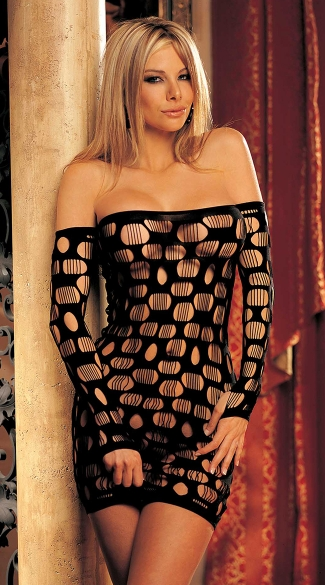 Open Hole Net Dress, Net Mini Dress, Fence Net Dress