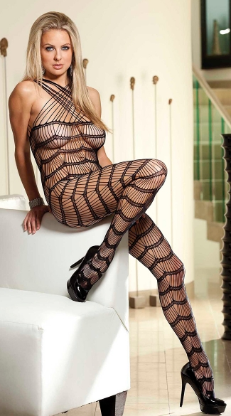 Strappy Halter Bodystocking, Black Bodystocking, Seamless Bodystocking