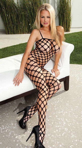 Pothole Bodystocking, Seamless Bodystocking, Black Bodystocking