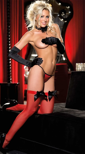 Sheer Red Bow Top Stockings