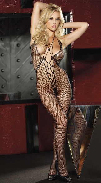 Halter Top Fishnet Bodystocking with Deep Center Plunge, Womens Bodystocking, Full Body Stocking