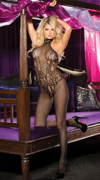 Lace and Fishnet Turtleneck Bodystocking, Fishnet Bodystocking, Turtleneck Bodystocking