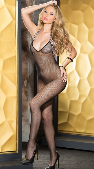 Leopard Trimmed Fishnet Bodystocking