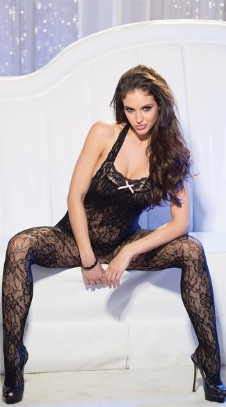 Halter Stretch Lace Bodystocking, Crotchless Pantyhose, Crotchless Bodystocking
