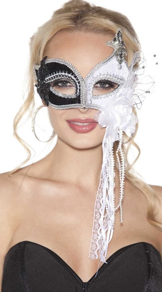 Black and White Sequin Mask, Two Tone White and Black Eye Mask, Black And White Costume Eye Mask