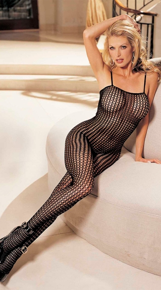 Honeycomb Lace Body Stocking, Open Front Body Stocking, Honeycomb Stocking