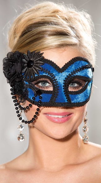 Royally Yours Velvet Mask, Black and Blue Velvet Costume Mask, Velvet Costume Mask with Pearls