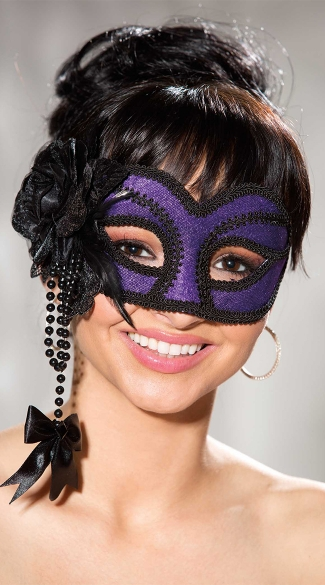 Purple and Black Velvet Mask, Sexy Masquerade Costume Masks, Velvet Costume Mask with Flower