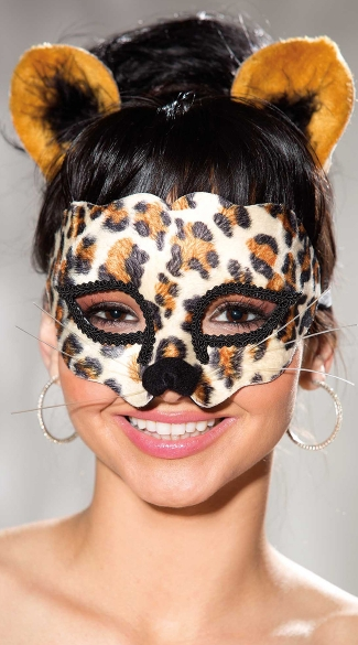 Velvet Leopard Print Mask and Ears, Sexy Leopard Costume Mask with Whiskers, Velvet Leopard Halloween Mask