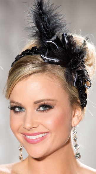 Black Ribbon Headband with Feathers