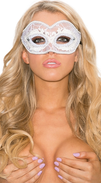 Lace Mask with Silver Braid, Mardi Gras Mask, Halloween Mask