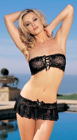 Three Piece Stretch Lace Bandeaux Top and Mini Skirt Set