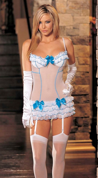 Stretch Sheer Mesh with Ruffles and Bows Chemise Set