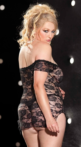 Plus Size Stretch Lace Chemise And Panty