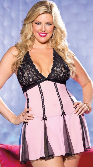 Plus Size Stretch Lace and Net Baby Doll