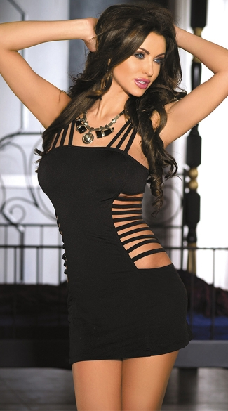 Seamless Cage Chemise, Lingerie with Cut-Outs, Black Strappy Mini Dress