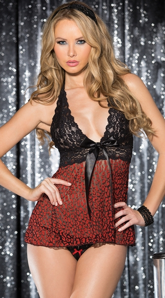 Stretch Lace Leopard Babydoll