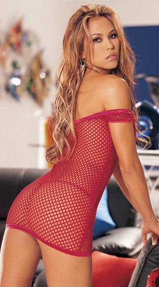 Big Hole Stretch Fishnet Chemise PJ Set