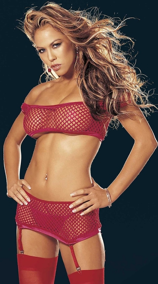 Four Piece Big Hole Stretch Fishnet Set