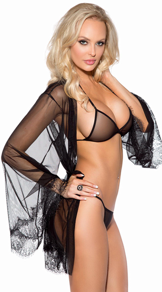 Sheer Mesh and Eyelash Lace Robe Set, Black Robe Set, Sheer Lingerie Set