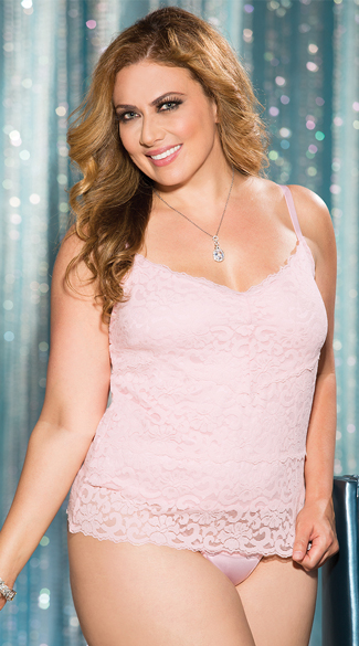 Plus Size Stretch Lace Cami Top, Pink Camisole, Spaghetti Tank-Top