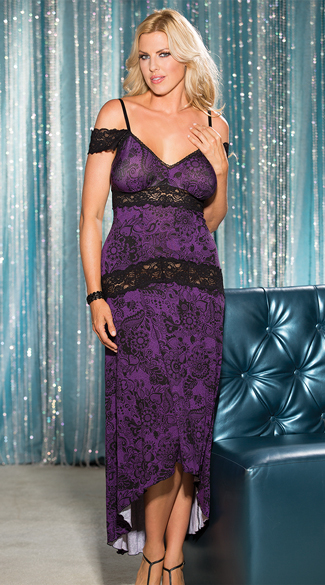 Plus Size Soft and Supple Lace Gown, Long Negligee, Long Nightgown