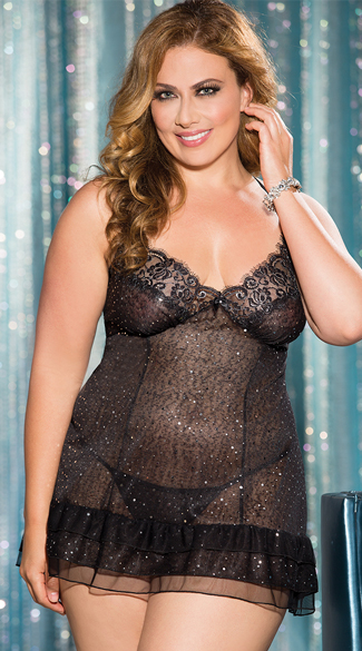 Plus Size Sequin Embellished Chemise, Black Chemise with Sequin, Sequin Lingerie
