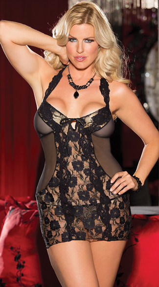 Plus Size Gold Luxe Lace Chemise, Black Chemise with Gold, Black Lace Lingerie