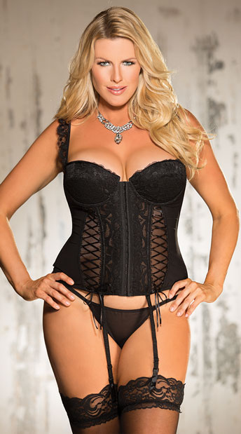 Plus Size Lacy Black Corset Set, plus size black corset - Yandy.com