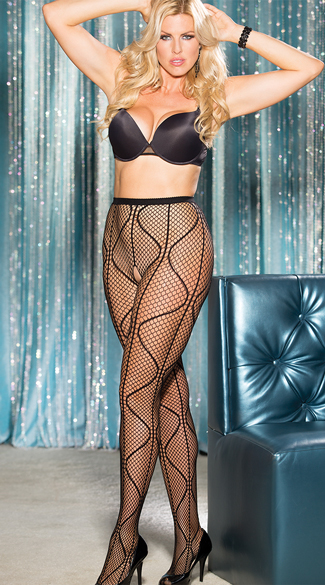 Plus Size Swirly Fishnet Panythose, Plus Size Swirly Pantyhose, Plus Size Crotchless Pantyhose