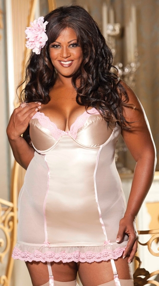 Plus Size Stretch Satin and Scallop Lace Chemise