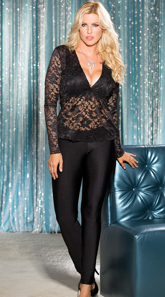 Plus Size Long Sleeve Lace Top, Plus Size Lace Shirt, Plus Size Lace Top