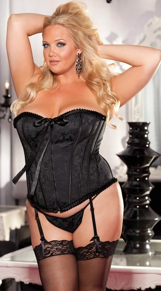 Plus Size Floral Tapestry Strapless Corset, Full Figure Strapless Corset