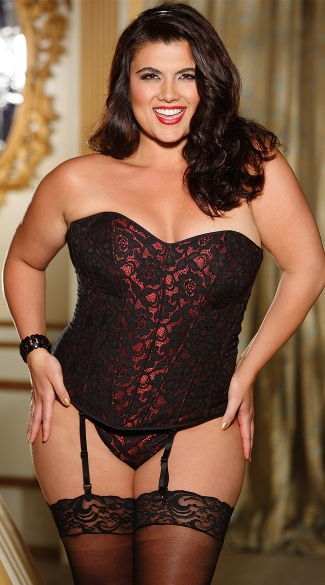 Plus Size Black and Red Jacquard Corset, Plus Size Sweetheart Corset