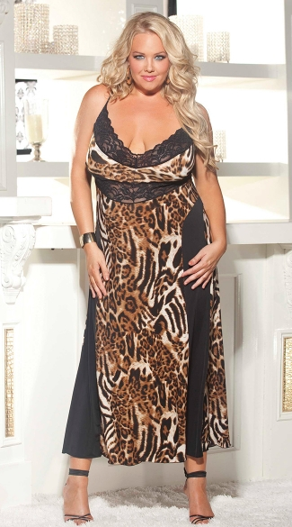 Plus Size Leopard Print and Lace Gown