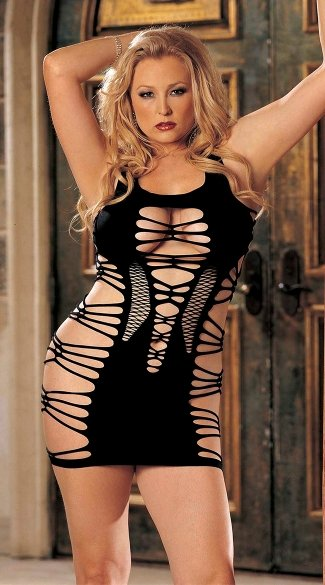 Plus Size Seamless Strappy Cut Out Dress