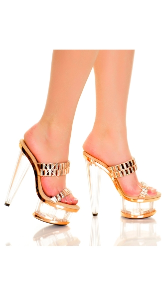 6 Inch Double Strap Diamond Slide, Diamond Fashion Heels, Diamond Clear Platform Slide Shoes