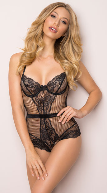 Stunner Net and Lace Teddy, fishnet and lace teddy - Yandy.com